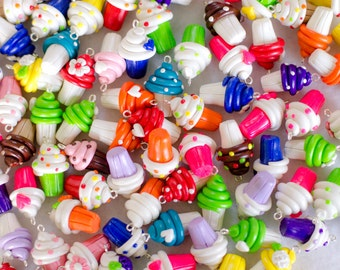 Polymer Clay Cupcake Charms, Set of 10