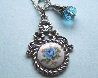 Vintage Blue Rose Victorian Style Necklace, Blue and White Cameo, Blue Rose cameo, Vintage cameo necklace, Rose Jewelry, Limited Edition
