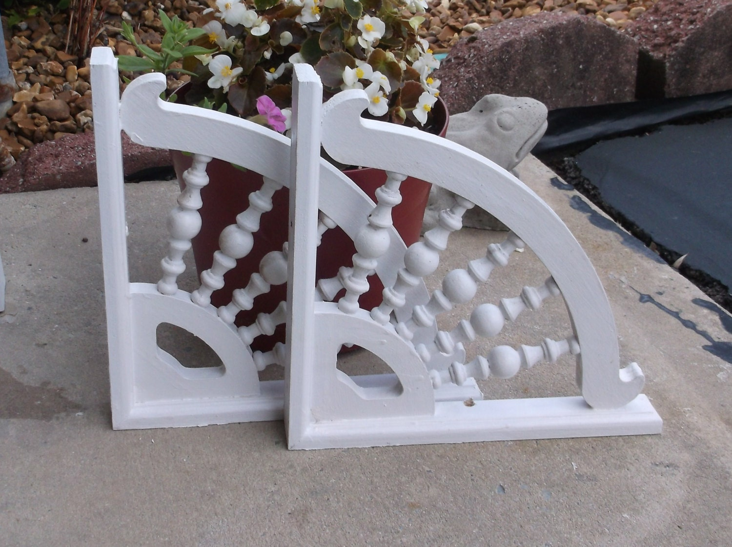 White Victorian Style Corbel Pair..Wooden Porch