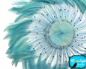 Feather Pads, 1 Piece - LIGHT BLUE whole Beaded Pinwheel Stripped Rooster Hackle Feather Plates : 3947