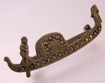 Vintage Marcasite .800 Silver Italian Venetian Venice Gondola Brooch Pin Jewelry Jewellery