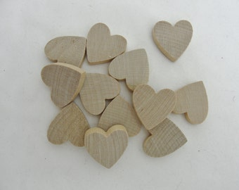 """100 Wooden hearts 1 inch (1"""") wide, 1/4"""" thick unfinished wood hearts diy"""