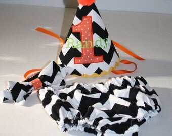 boys halloween first birthday party outfit, cake smash outfit, black white chevron with orange and yellow, 1st birthday,  boys diaper c