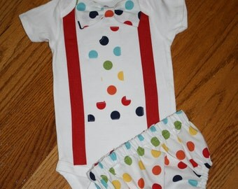 baby boys bodysuit - rainbow dots cake smash outfit boys 1st birthday outfit  primary colors birthday bodysuit and diaper cover, smash cake