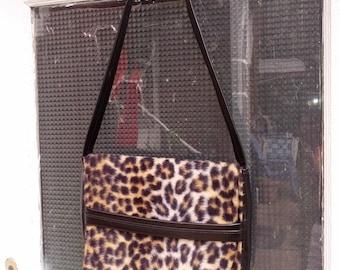 Vintage 50s 60s Large Timeless Faux Leopard Ladies Handbag Purse