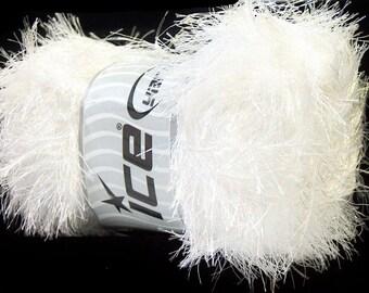 100 Gram Eyelash Yarn - White #22699 Ice White Fun Fur 164yds