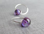 Small Purple Hoops, Purple Earrings, Small Hoop Earrings, Purple Lampwork Earrings, Sterling Silver Handmade Earrings, Wire Earrings