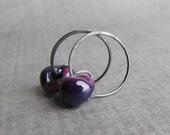Aubergine Hoop Earrings, Dark Purple Earrings, Eggplant Hoops, Purple Lampwork Earrings, Oxidized Small Wire Hoops, Oxidized Silver Earrings