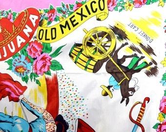 Vintage 1960s Mexican Souvenir Scarf - Tijuana