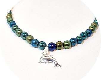 Dolphin Necklace, Kids Jewelry, Green Blue Beads, Little Girl Necklace, Dolphin Jewelry, Toddler Necklace, Silver Dolphin, Girls Necklace