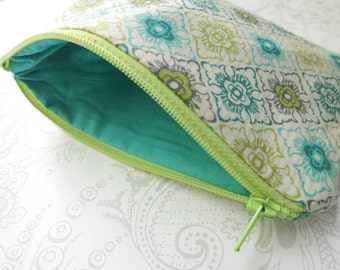 Floral Lattice Tile -- Zippered Cosmetic Bag -- Makeup -- Cotton Pouch -- Teal Lime