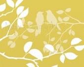 Summer Tree Wall Art Print, Yellow Home Decor, Romatic Love Bird Print 8 x 10, Nature Wall Decor (96)