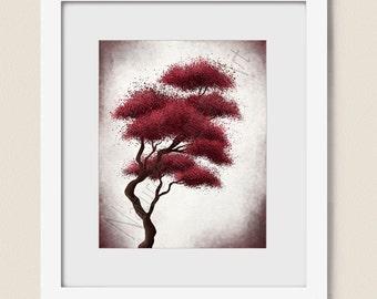 Bonsai Tree Art, Dark Red Wall Decor, 8 x 10 Wall Art Print for Home or Office Decor, Deep Red Wall Art Tree Print, Living Room Art  (111)