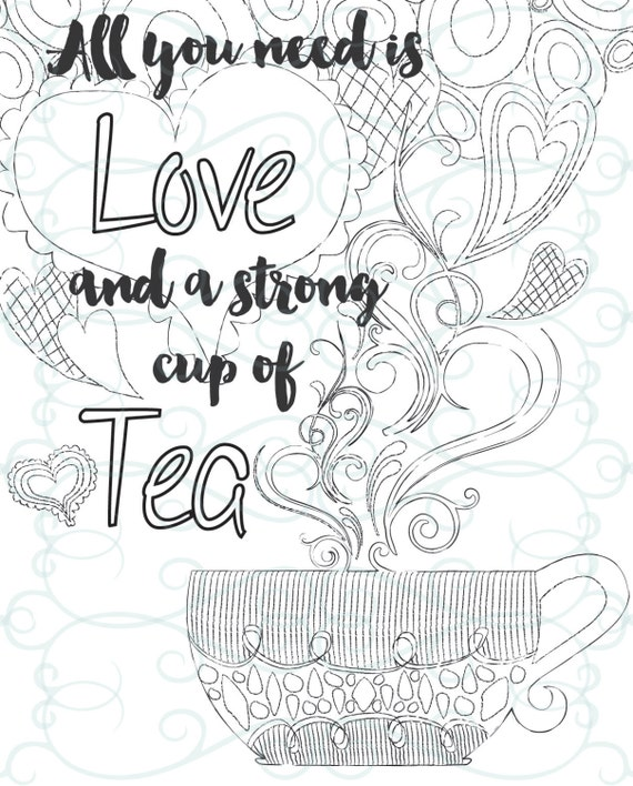 Adult Inspirational Coloring Page printable 08 A Cup of Tea from