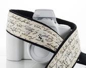 dSLR Camera Strap, Vintage Script, SLR, French Script, Canon camera strap, Nikon camera strap,  8 ecc