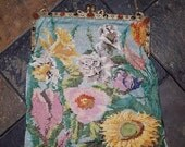 Beautiful Art nouveau floral 1900s Antique Micro Beaded bag with JEWELED Austrian Frame - AS IS - needs restoration