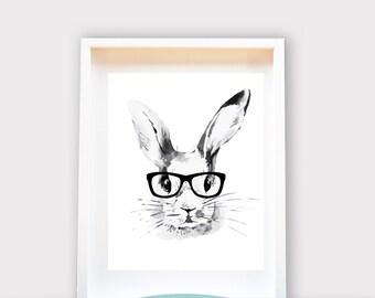 Hipster Bunny / Wall Art 8x10 Print, Kids Room Decor / Nursery Art Print / Kids Interior Design