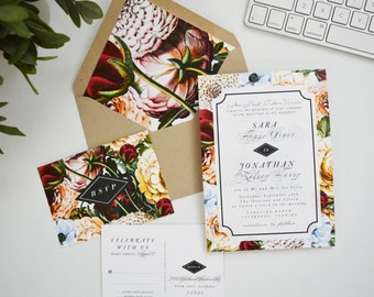 Autumn Wedding Invitation, Dahlia Flower, Botanical, Rustic, Garden Wedding, Spring Wedding, Summer Wedding, Camila, Camellia