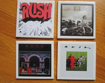 canadian  band RUSH  Rock n Roll Record Album Art  Tile Drink Coasters 4 Piece Set