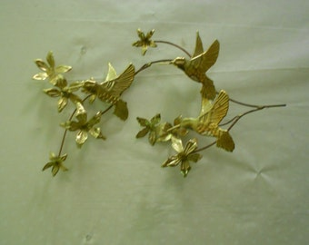 Homco Metal leaves with Humming Birds  Wall Decor Home Interiors Metal