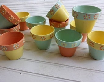 Painted Flower Pots - Baby Shower Favors - Small Painted Pots - Wedding Favors