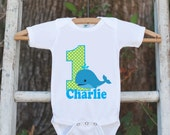 First Birthday Whale Bodysuit - Personalized Bodysuit For Boy's 1st Birthday Party - Preppy Whale Onepiece Birthday Outfit With Name and Age