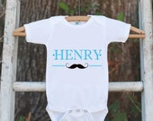 Mustache Bodysuit - Personalized Shirt For Boy's Birthday Party or Coming Home Outfit - Mustache Bash Onepiece Birthday Outfit with Name