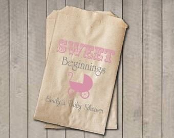 Girl Baby Shower Favor Bags, Sweet Beginnings Bags, Baby Carriage Favor Bag, Custom Baby Shower Bags, Baby Shower Candy Buffet - Pink & Grey
