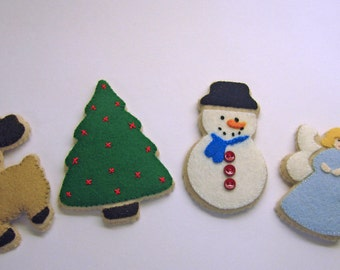 Pretend Felt Play Food - Christmas Sugar Cookies - Waldorf Inspired Playfood Accessory for Imaginative Play
