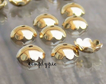 Gold Scallop Metal Bead Caps 8mm 25 Flower Brass Findings