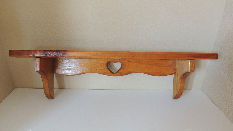 Wood Pine Plate Grooved Shelf 24 Heart Cut Out Single