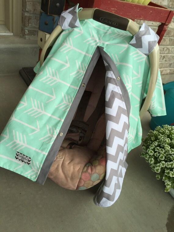 carseat canopy / carseat canopy / carseat cover / car seat cover / nursing cover / unisex / mint /arrow /chevron