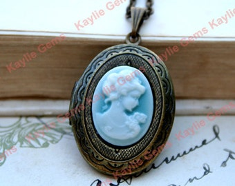 Victorian Style Locket Necklace Antique Brass Light Blue Cameo