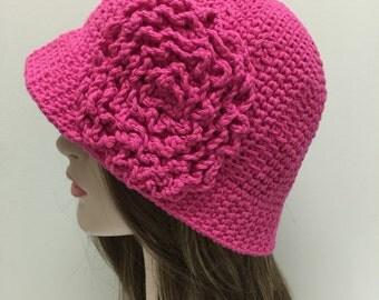 Pink Cotton Hat, Sunhat, Chemo Hat, Brimmed hat, Winter Hat, Womens Accessories