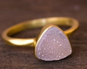LABOR DAY SALE Gold Pink Druzy Pyramid Ring - Stackable Ring - Rose Pink, Triangle Ring