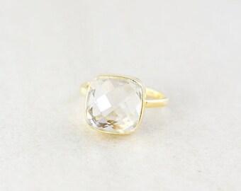Crystal Quartz Ring - Cushion Cut - Gold Plated Sterling Silver