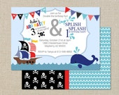 Brothers Birthday Invitation - Pirate and Whale - Digital Printable File