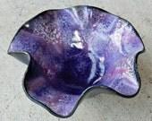 Orchid Purple Flower enamel bowl