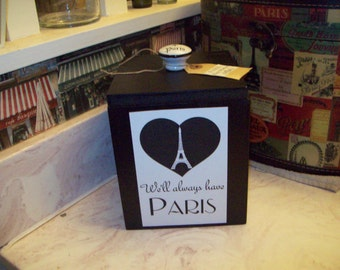 We'll always have Paris Effel Tower canister box ,organizer box ,PARIS decor,FRENCH decor,Paris bedroom decor,Paris bathroom,shabby chic