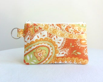 Orange and Lime Green Paisley Zippered Bag / Coin Purse / ID Case / Gadget Pouch with Split Ring - Ready to Ship