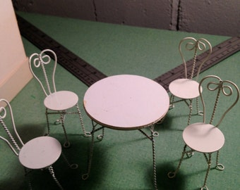 White Wrought Iron Table Furniture Reevesline Ice Cream #3002
