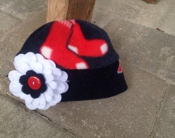 Boston Red Sox Baseball Flower Fleece Hat - Sizes Newborn Baby Girl, Kids, Adult Women