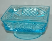 Vintage Aqua Blue Glass Carnival Glass Square Dish circa 1950's