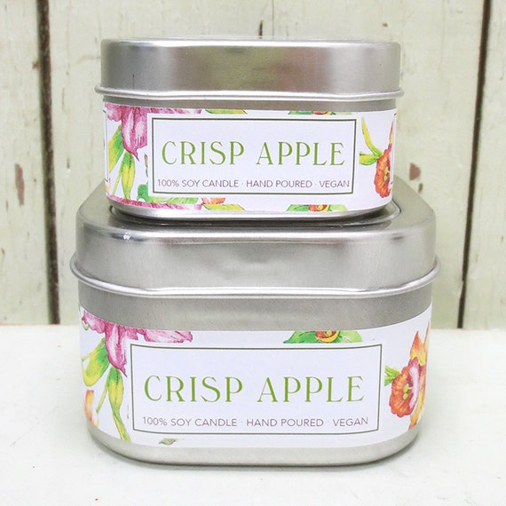 Crisp Apple Soy Candle 4 oz. - Green Daffodil - Handpoured - Siouxsan and Anne -C4