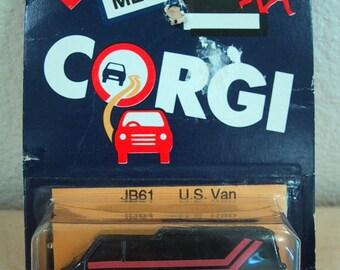 1985 Metal Corgi U.S. Van - JB61 - Original Display Card