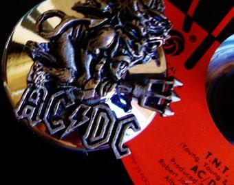 AC/DC TNT Vinyl Record Art Candleholder Night Light Votive or Taper Candles Bon Scott, Vintage Mid Century Solid Silver Metal Base Hard Rock