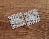 J monogram 1 inch square cotton embroidered initial monogram - rare antique supply