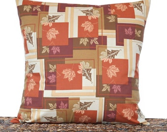 Fall Leaves Pillow Cover Cushion Autumn Rustic Khaki Olive Green Rust Purple Yellow Stripes Decorative 18x18