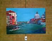 Original Italian Oil Painting of Venice - 36x24in