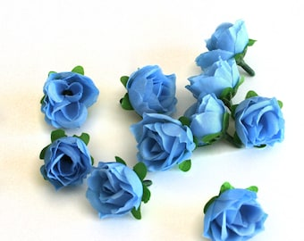 10 Small Light Blue Tea Roses - Artificial Flowers, Silk Roses